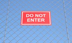 do not enter sign on a wire mesh - stock illustration