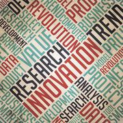 Research Innovation - Vintage wordcloud. Piirros