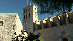 Europe Spain Balearic Ibiza Eivissa city 143 cathedral in the castle Stock Footage