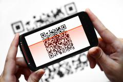 qr code mobile scanner - stock photo