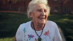 Grandma Close Up Laughing Slow Motion Stock Footage