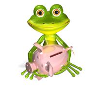 green frog with piggy bank - stock illustration