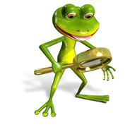 Green frog with magnifying Stock Illustration