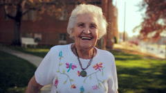 Happy Grandma Close Up Smiling Slow Motion Stock Footage