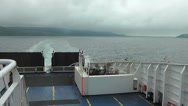 Stock Video Footage of Looking back from Ferry at wake out of Stranraer