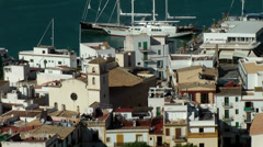 Europe Spain Balearic Ibiza Eivissa city 147 part of harbor district Stock Footage