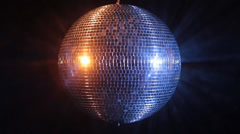Disco mirror ball reflect blue and red light Stock Footage