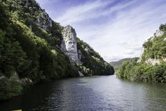 Iron Gates Natural Park, Decebal's head carved in rock Stock Photos