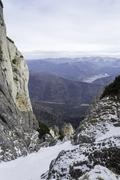 Rocky trail in mountains landscape in winter Stock Photos