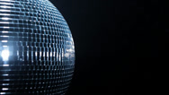 Stock Video Footage of Half of Disco mirror ball on black backround