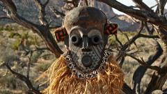 African Primitive Mask Scary Savage Landscape Pan Stock Footage