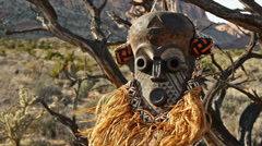 African Primitive Mask Scary Savage Landscape Close Up Stock Footage