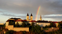 Rainbow over the Castle of Veszprem Stock Footage
