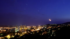 Planets over city of Pécs Stock Footage