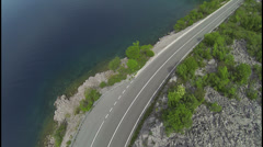 AERIAL: Flying over mediterranean road Stock Footage