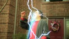Jerry close lightning Stock Footage
