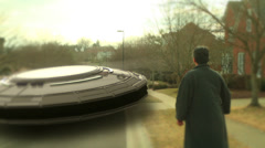 Jerry touch UFO on ground flying saucer Stock Footage