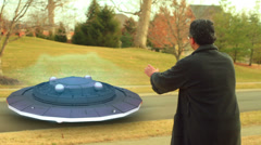 Jerry see UFO street Stock Footage