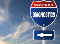 diagnostics road sign - stock illustration