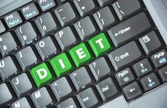 Green diet key on keyboard Stock Photos