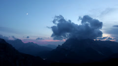 Moon over Misurina-valley Stock Footage