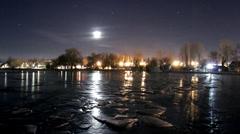 Moonset at Balaton in winter Stock Footage