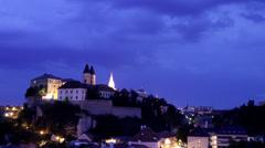 Evening with lingtnings in Veszprém Stock Footage