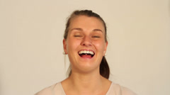 Young businesswoman laughing Stock Footage