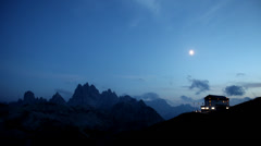 Alpine hut of Auronzo in moonlight Stock Footage