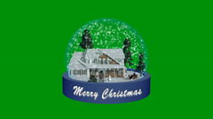 Christmas snow globe animation - green screen Stock Footage