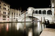 Stock Photo of venice grand canal, rialto bridge night view. italy