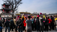 Lots of local audiences watch Shehuo show in Yu County, China Stock Footage