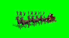 Santa Claus with sleigh and reindeer animated - stock footage