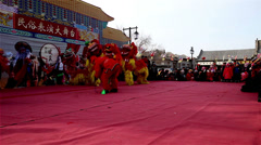 The Chinese traditional Shehuo-lion dancing in Yu County, China Stock Footage