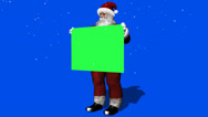Stock Video Footage of santa claus with green sign and snowfall - green  blue screen