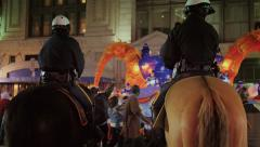 New Orleans Police Officers Watch a Mardi Gras Parade from Horseback 4125 Stock Footage