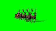 Stock Video Footage of Santa Claus with sleigh and reindeer animated