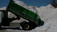 Stock Video Footage of Winter Snow Cleanup Smaller Dump Truck