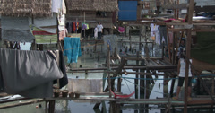 4K Slum Shanty Community Vulnerable Coastal Area - stock footage