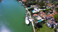 Luxury mansions on the waters of the Intracoastal Stock Footage