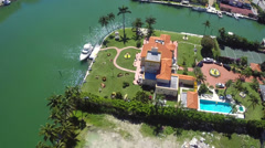 Luxury villa estates miami beach aerial video - stock footage
