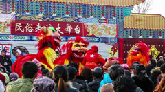 Fast forward of the Chinese traditional Shehuo-lion dancing in Yu County, China Stock Footage