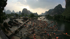 4K UHD Hot air ballooning and rafting - Yangshuo, time lapse - stock footage