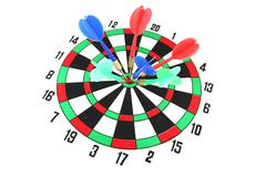 darts on target of isolated. - stock photo