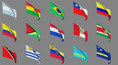 Flags of South American Countries Stock Footage