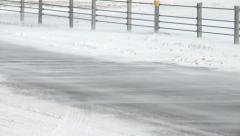 Blowing Snow On Road Close Up Stock Footage