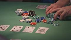 Poker game players betting high cu of pot dolly - stock footage