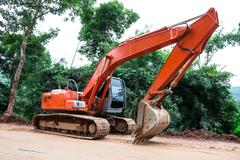 Heavy earth mover at construction site Stock Photos