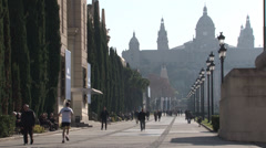Barcelona - Catalonia - Spain - Avinguda de la Reina Maria Cristina / MNAC - HD Stock Footage