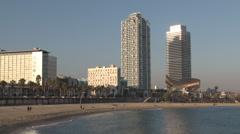Barcelona - Catalonia - Spain - Beach - Barcelonetta - HD 1920 X 1080P Stock Footage